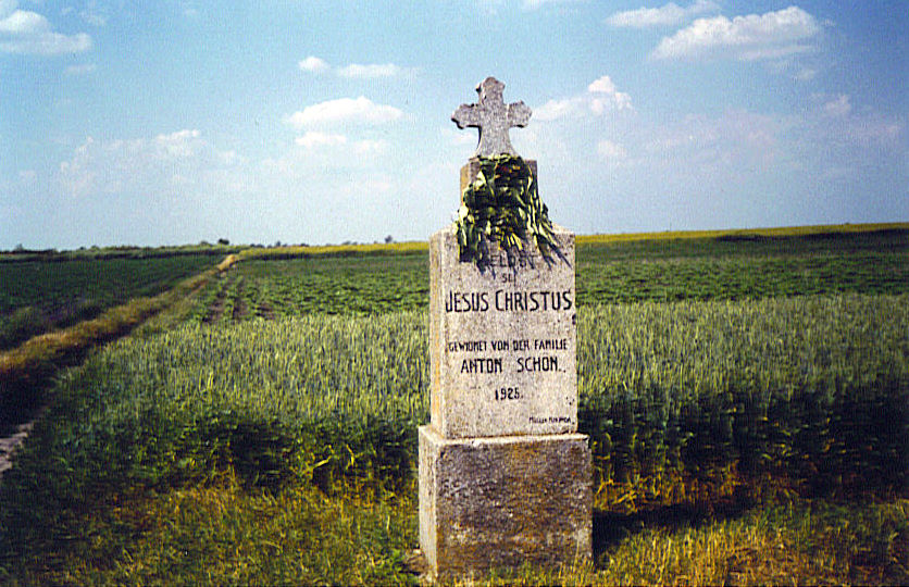 On the way out of Molidorf stands the Schön Family monument on the side of a field<br>Click to enlarge