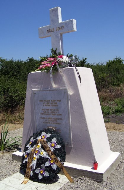 Molidorf Memorial Cross and our floral tribute with wreath from Nova Crnja Community - July 11, 2008<br>Click to enlarge