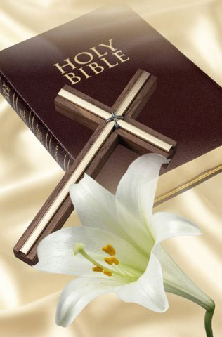 Bible, Cross, Lily